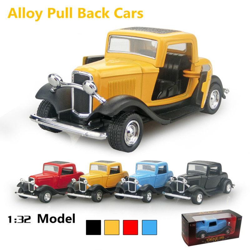 1:32 alloy car models, high simulation toy vintage car, pull back & flashing.musical, metal musical toy vehicles, free shipping(China (Mainland))