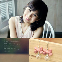 2015 Hot Sell Fashion Cute Bowknot Pendientes Earings Lovely Acrylic Ball Pink Drop Earrings C21R6