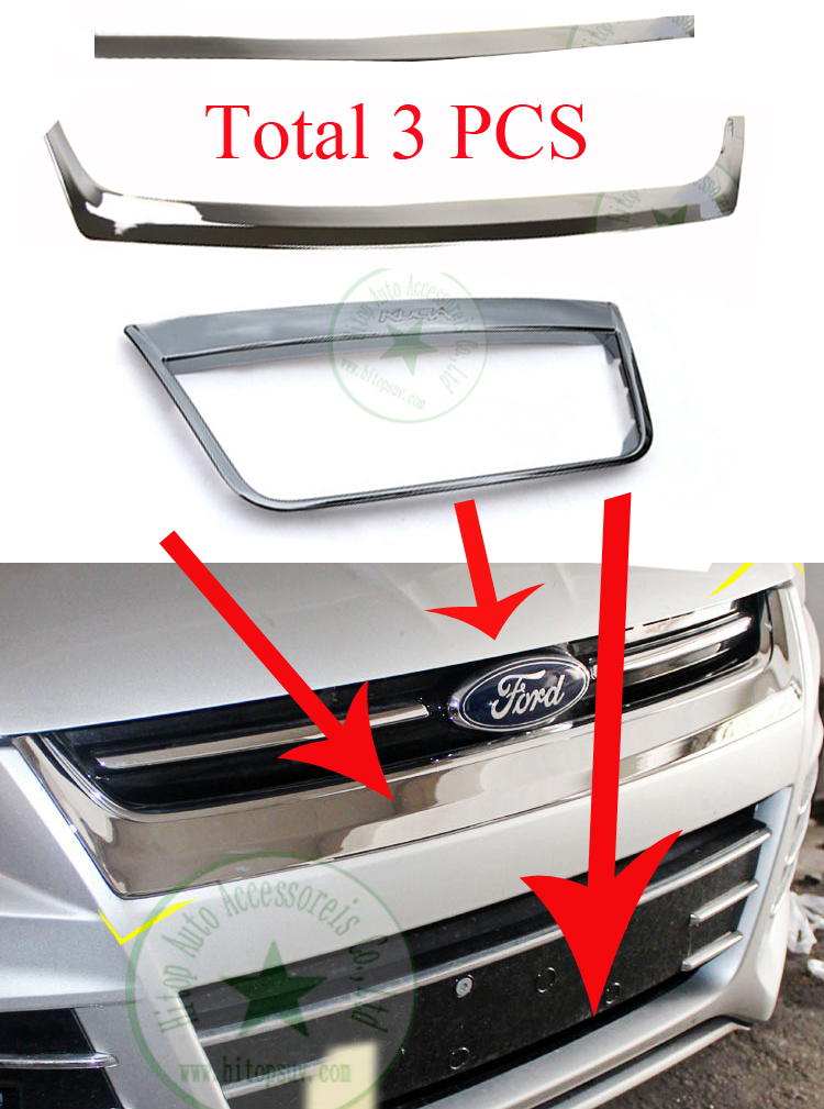 2013 2014 2015 Kuga(Escape) Chrome grille frame/cover trim,for decoration,(bottom+middle+upon),total 3PCS, high cost performance(China (Mainland))