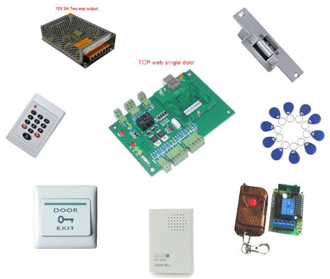 Access control kit,web single door TCP/IP+reader+power+strike lock +remote control +exit button +bell+10 em tags,sn:web-109(China (Mainland))