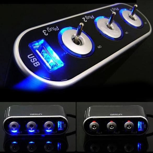 USB charger USB 3 Way Car Cigarette Lighter Socket Splitter DC 12V + LED Light Switch E#TN(China (Mainland))