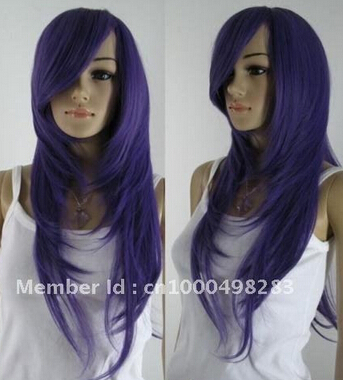 YJ 728 WWW 0003454 Free Shipping>>Charming long purple hair wavy Wig(China (Mainland))