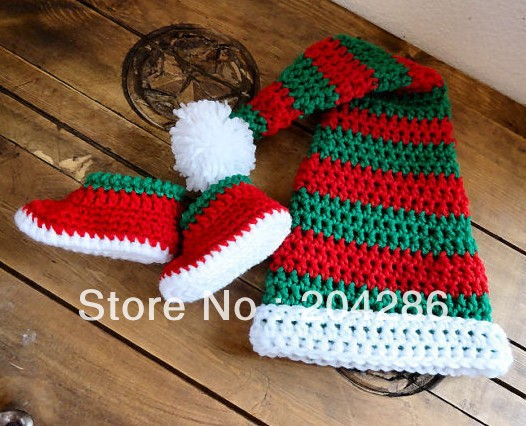 Free Shipping crochet baby Christmas hats + Christmas shoes suit red blue (retail sets) online shoe china wholesale cheap(China (Mainland))
