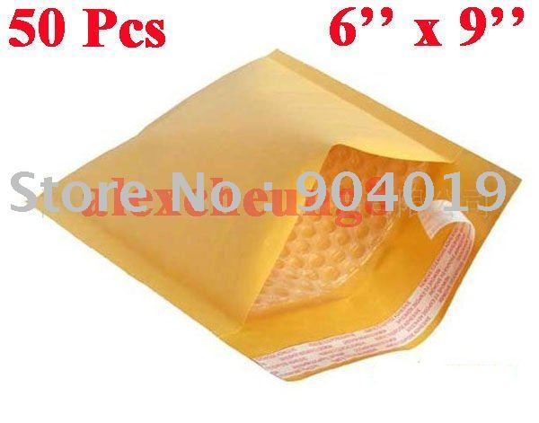 "50 Pcs Kraft Bubble Mailers Padded Envelopes Bags 6""X9"""