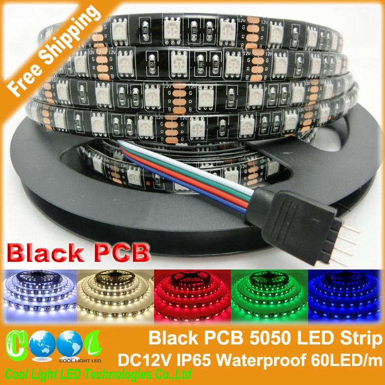 Black PCB LED Strip 5050,DC12V,Black PCB Board,IP65 Waterproof,60LED/m,5m 300LED,RGB,White,Warm White,Red,Green,Blue(China (Mainland))