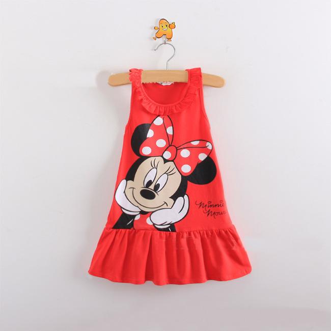 New 2016 Cartoon Children summer dress princess T-shirt sleeveless hello kitty Minnie cotton material(China (Mainland))