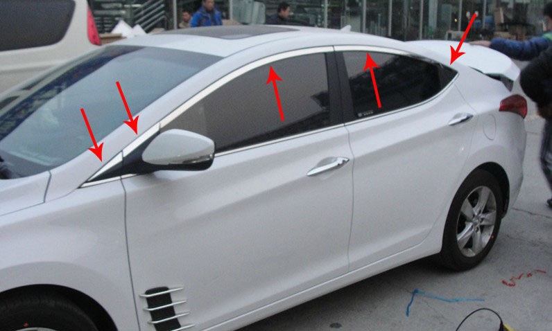 Фотография Free shipping 2012 Hyundai Elantra High quality stainless steel window trim cover(Up+Front,posterior triangle,a Set of 10pcs)