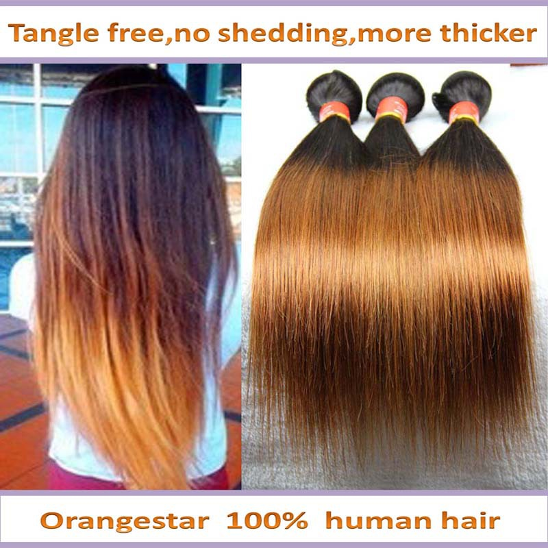 Brazilian Ombre Hair Extensions Straight Two Tone Human Hair Weave Mix 3pcs Straight Ombre Hair Cheveux Tissage 10-30inch MS302(China (Mainland))