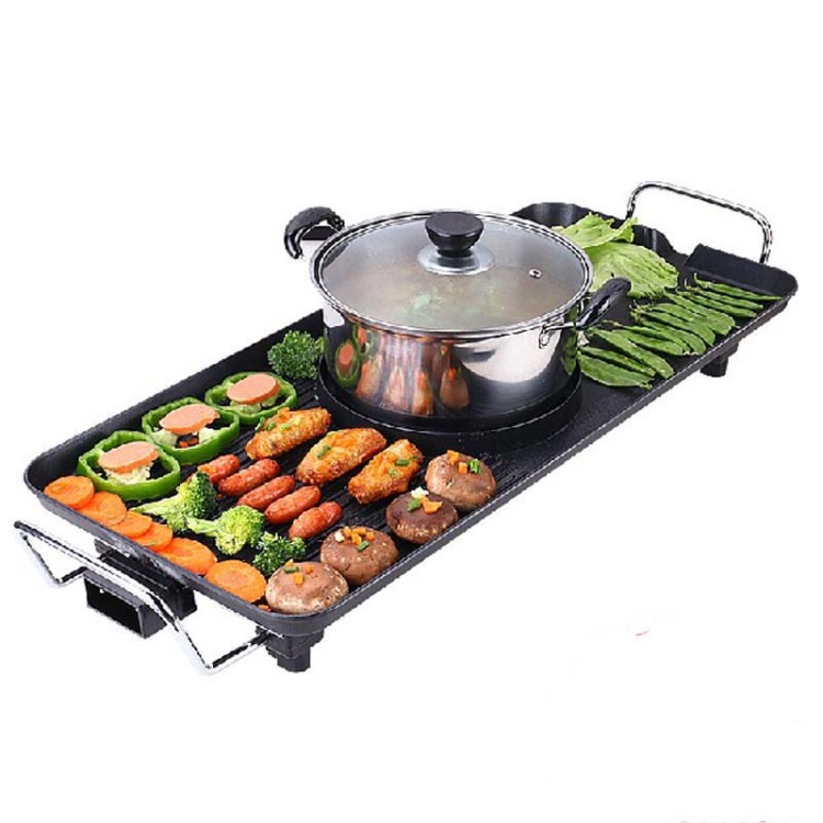 Multifunctional Korean Barbecue Pits Fondue Electric Hotplate Smokeless Bbq Grill Suit 7 Or More People (send Classic Packs)(China (Mainland))