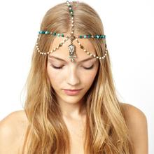 Fashion Women Bohemian Artificial Turquoise Crystal Headband Hair Accessories Cheap-fine(China (Mainland))
