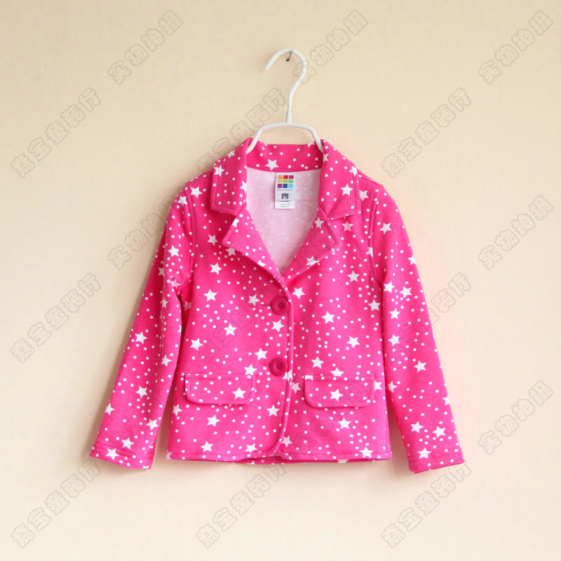fashion grils All over sky star hot red suit Terry children's coat(China (Mainland))