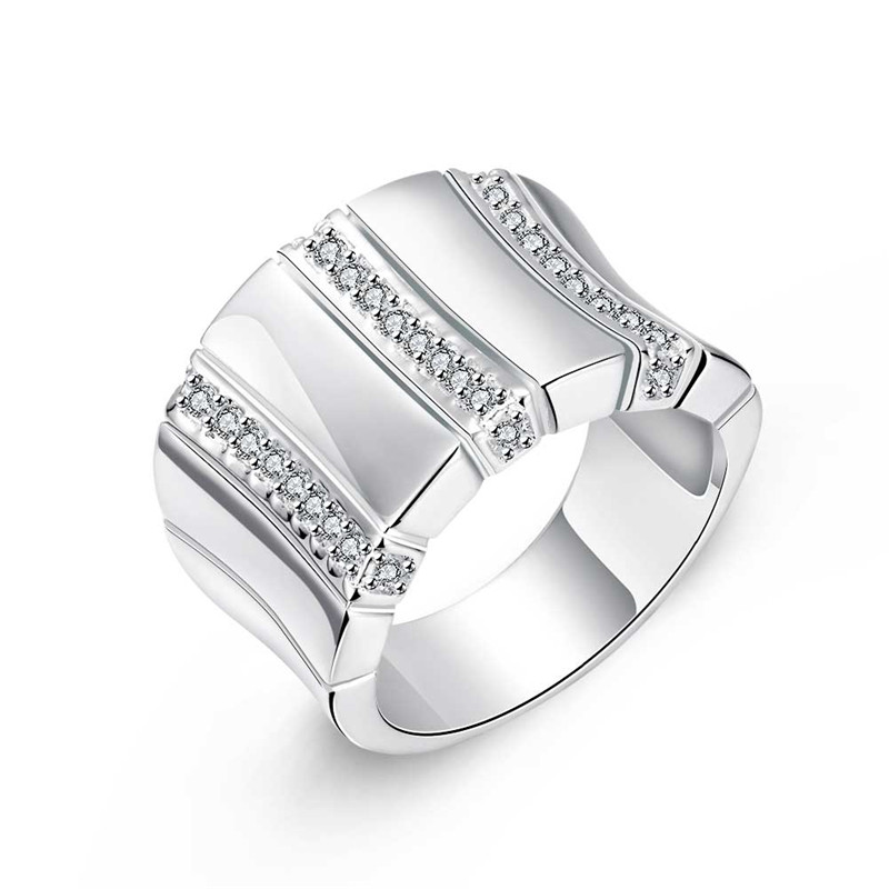 Hot silver CZ diamond men finger ring size 8 # 9 # 10 # fashion jewelry cool street style Top quality Factory Outlet R778(China (Mainland))