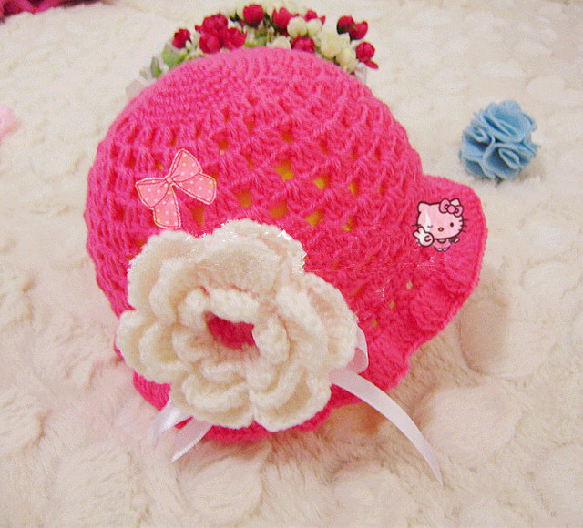 Handmade Crochet Baby Toddler Children's hat beanie Flower christmas sale