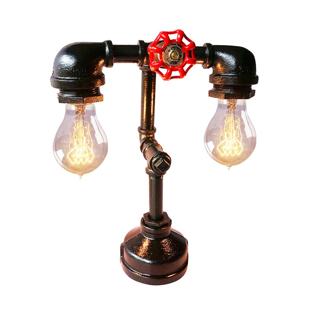 Handmade loft industrial black golden water led table lamp desk lighting for reading e27 ems - Hand made lamps ...