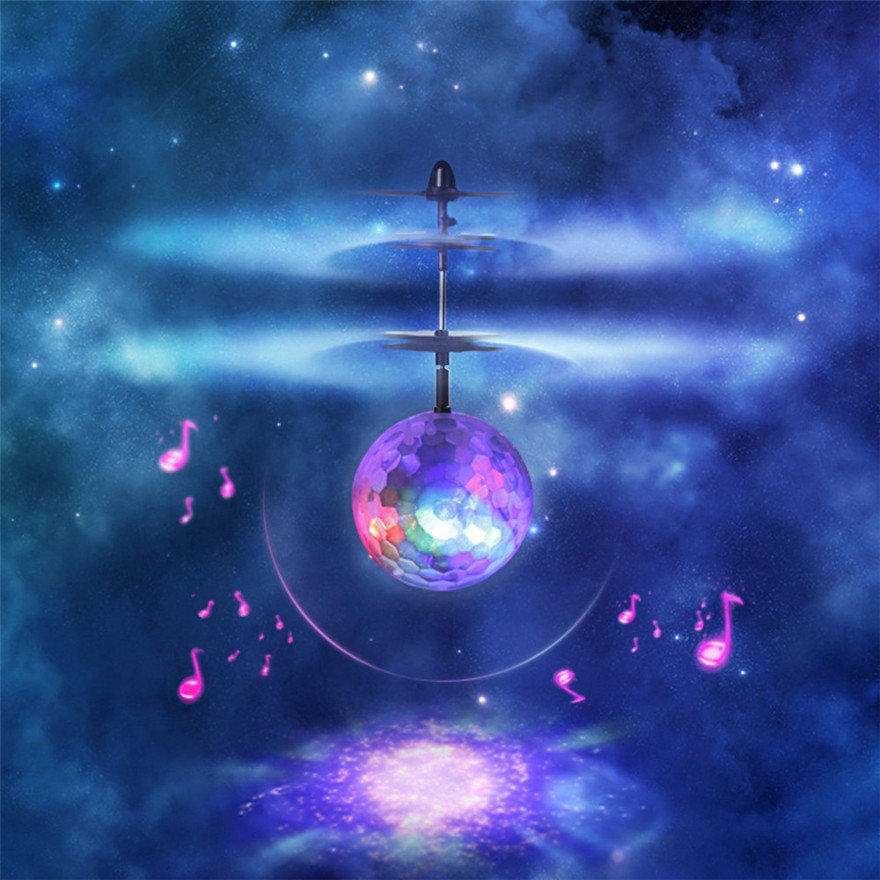 EpochAir RC Flying Ball Drone Helicopter Ball Built-in Disco Music With Shinning LED Lighting for Kids Teenagers Coloful Flying