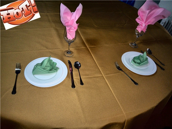 10pcs 90'' polyester fabric table linens for weddings(China (Mainland))