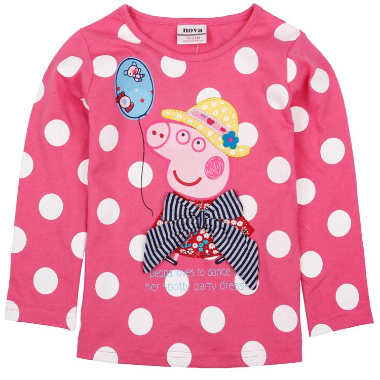 girls long sleeve t shirt children spring t shirt girls Cartoon clothing girl pig cotton t shirt children clothing F4409