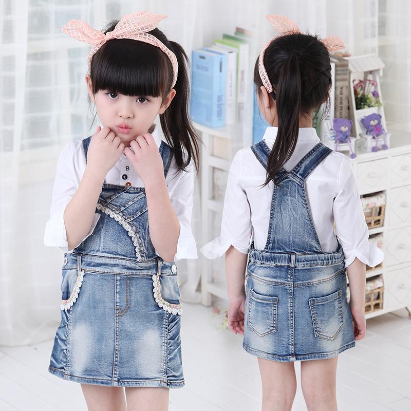 spring summer thunder silk lace skirt pocket skirt style cowboy suspenders skirt dress conjoined children<br><br>Aliexpress