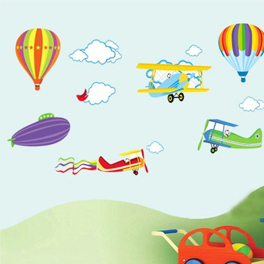 % Cartoon Airplane and Hot Air Balloons Removable Wall sticker Vinyl Decals For Kids Room Boys Home Decoration Mural Wallpaper(China (Mainland))