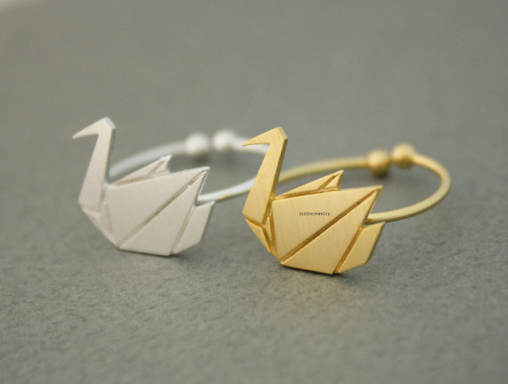 One Piece Origami Swan Ring, Cute Animal Ring for Women 2015 Adjustable Rings Anels(China (Mainland))