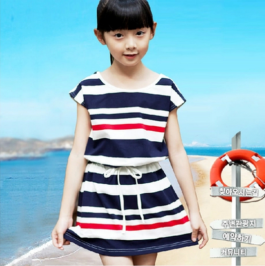 2015 Summber Spring New Fashion Mother Children's Family Clothing Girls Kids Princess Stripe One-piece Dress