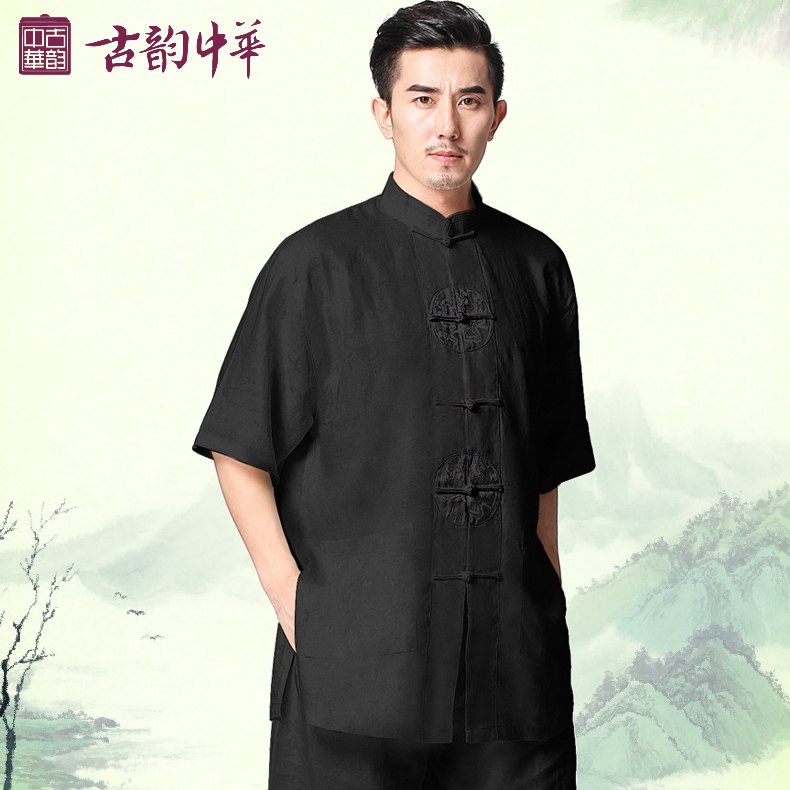 The Chinese ancient spring men linen clothes sleeve tai chi clothing Taijiquan clothing short sleeved morning suit<br><br>Aliexpress