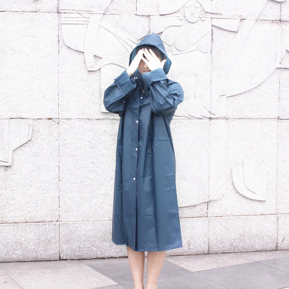 New EVA Environment Safety Raincoat With Hood For Men And Women Outdoor Rainwear Waterproof Poncho Over Knee Length Rain Coat(China (Mainland))