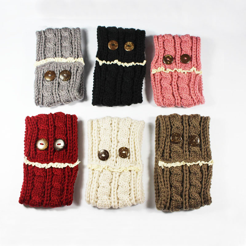 2016 Newest 10pcs/lot Lace Two buttons Women's Knitted Headwrap Knitting wool crochet headband ear warmers for Girls Teens(China (Mainland))