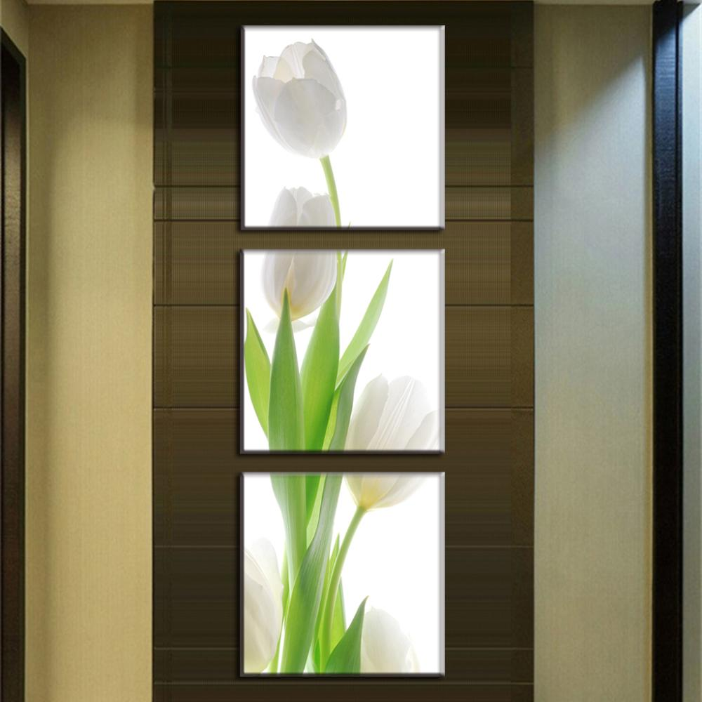 3 stks/set moderne muurschilderingen bloem witte tulp canvas print ...
