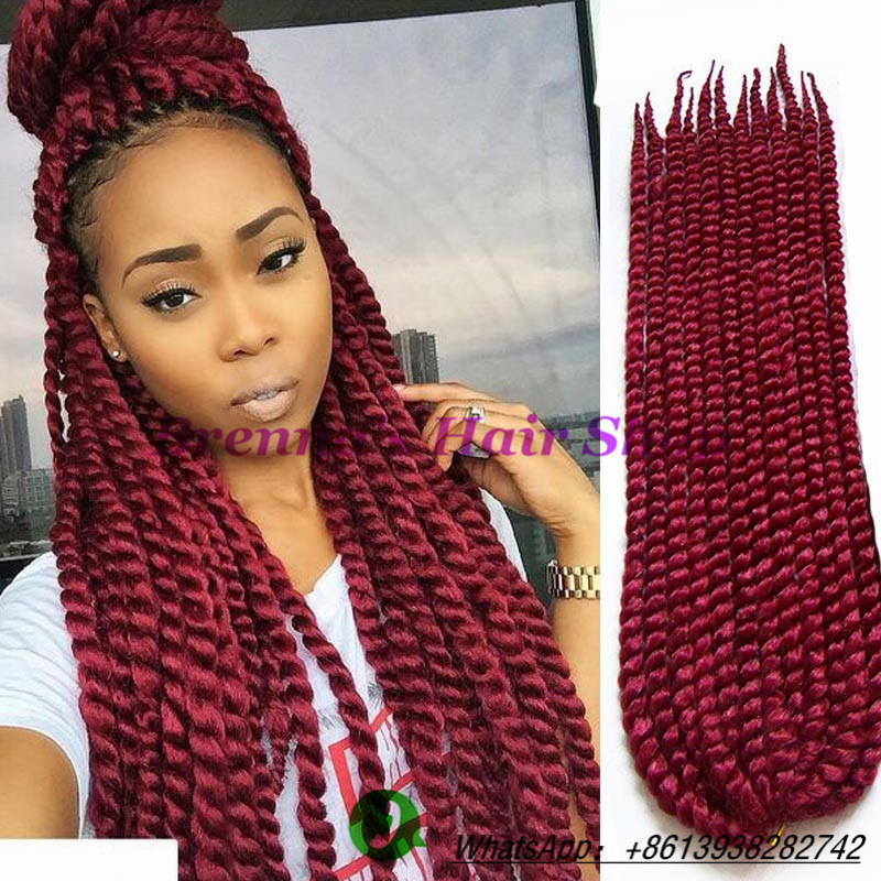 burgundy ombre braiding hair kanekalon two tone crochet twist hair ...