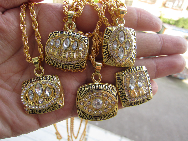 High Quality 1981 1984 1988 1989 1994 all San Francisco 49ers Super Bowl replic championship pendant necklace 5 pcs together(China (Mainland))