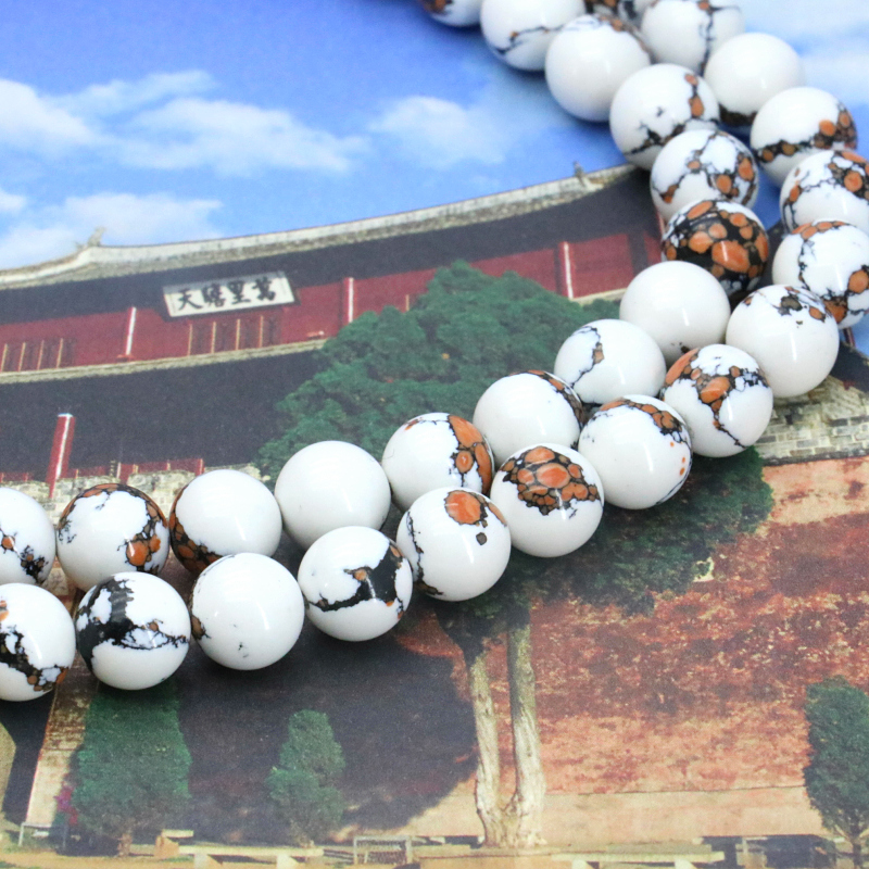 Charming!White tiger skin round turquoise 8mm loose beads 15 inch DIY fashion jewelry making design bracelet necklace ornaments(China (Mainland))