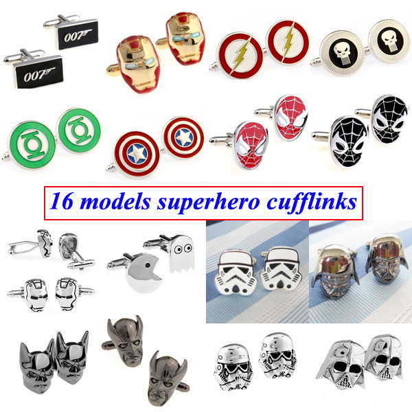 Hot Sale Super Hero Superhero Cufflink Cuff Link 1 Pair Free Shipping Biggest Promotion(China (Mainland))