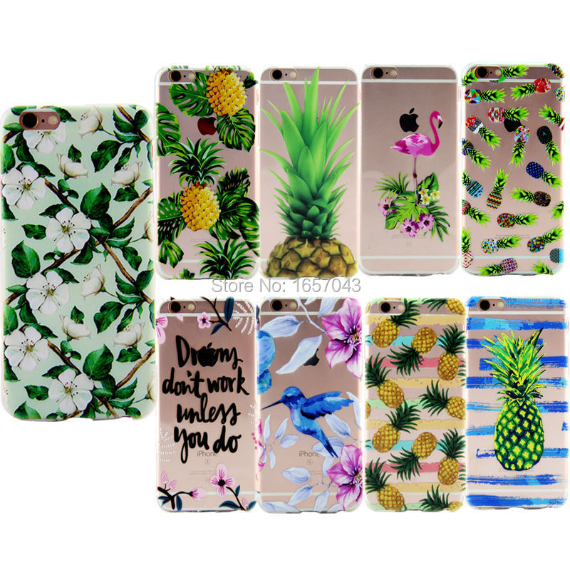New Arrival For iPhone 6 6s Plus 7 7Plus 5 5s SE Case Pineapple Bird Flower Painting Clear Flexible Phone Cases Back Cover TPU(China (Mainland))