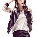 2016 Autumn Jacket Women New Fashion Stand Collar Baseball uniform Patchwork PU Bomber Jacket Women Basic