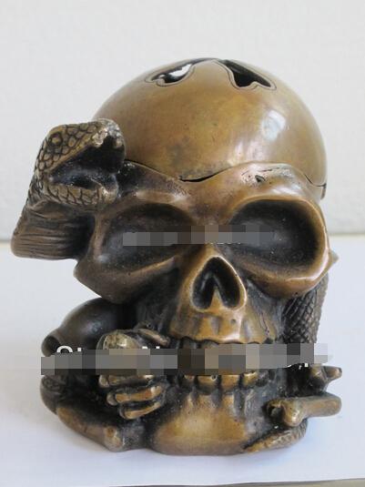 SUIRONG---410+++ China Bronze art Statue serpent snake Skull Head incense burner censer/Ashtray(China (Mainland))