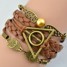harry potter deathly hallows bracelet leather rope vintage retro gold snitch owl wings for men and women Luna Lovegood wholesale(China (Mainland))