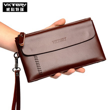 VKTERY Brand Men PU Leather Clutch Wallet Male Long Wallets Quality Men's Clutches Black Brown Color Large Capacity Zipper Purse - Wait Your Bag Store store