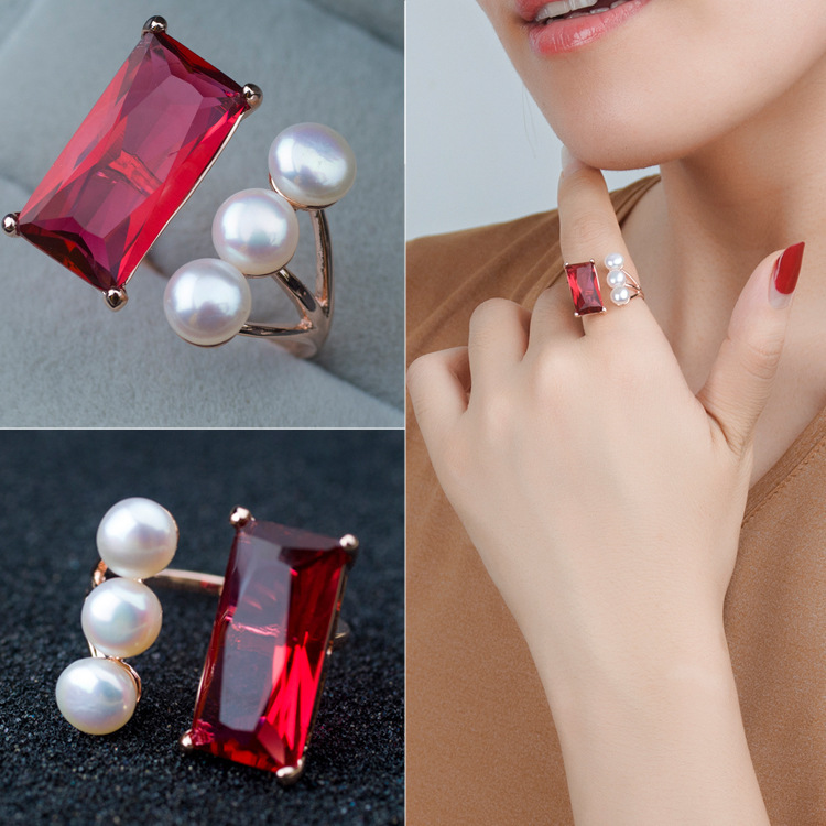 Genuine 3pcs Freshwater Pearl Jewelry Ruby Rectangular Cutting Glass Crystral Cocktail Ring Rose Gold Plated Ring AJ-TNR071<br><br>Aliexpress