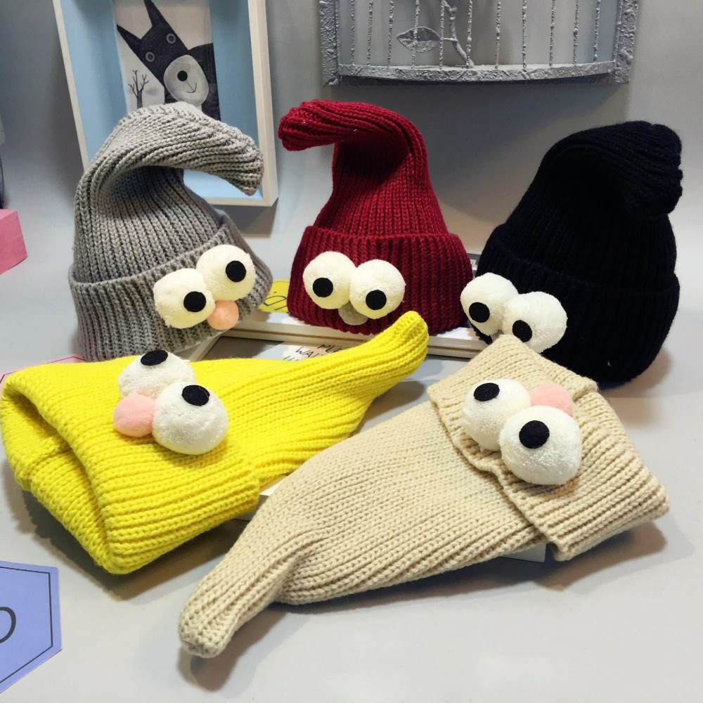 2017 Hot Sell Baby Cap& Hat Winter Korean Newborn Baby Hat Lovely Big Eye Knitted Wool Children Cap Sharp Necromancer Baby Cap