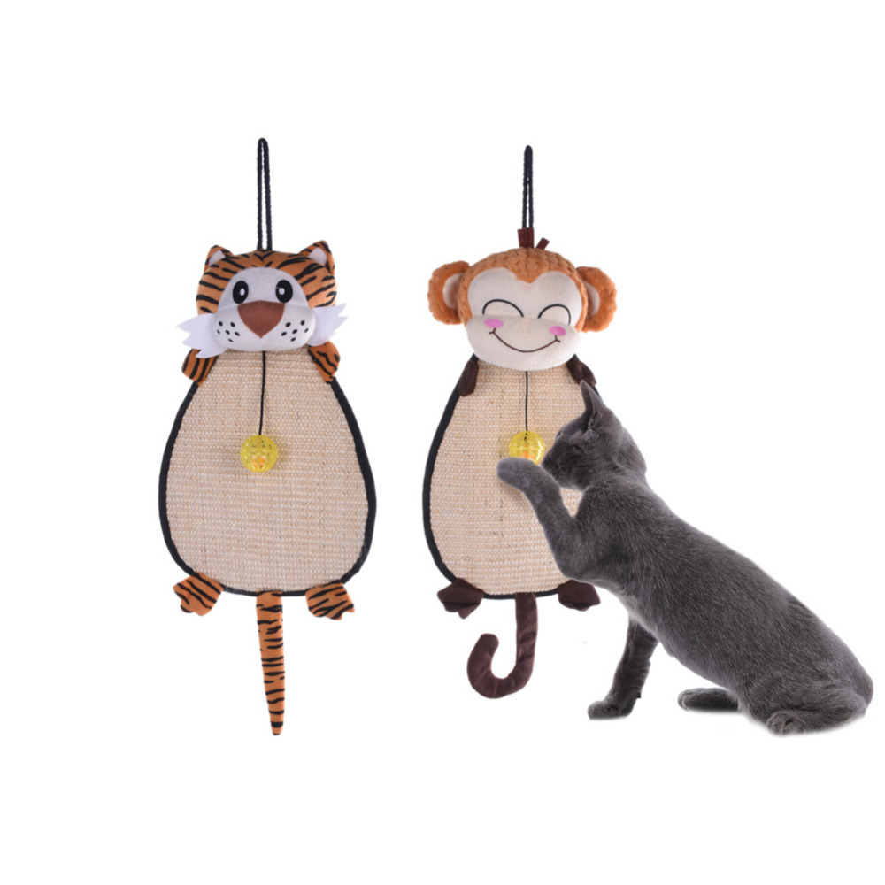 Cute Animals Shaped Scratch Board Pad Pet Kitten Cat Care Interactive Toy Furniture Scratcher With Small Bells(China (Mainland))