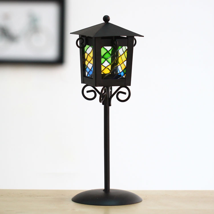 iron street lamp sharp candle holder black metal lantern colored glass table stand - Emily's delicate life store