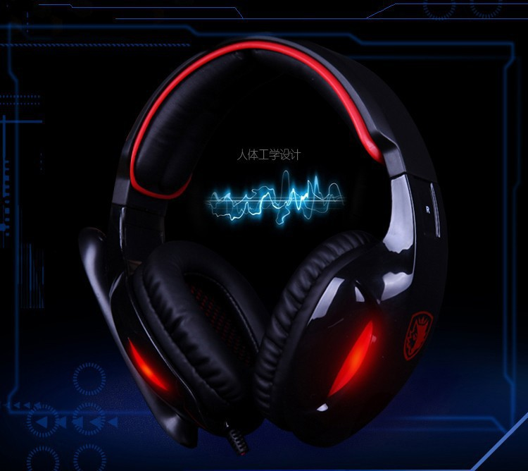 Top Quality sades gaming earphones 7.1 independent sound card computer headset with mic and remote control stereo super sound(China (Mainland))