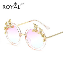 ROYAL GIRL Newest Arrived Butterfly Round Wire Frame Coating Eyewear Transparent Vintage Fashion Sunglasses Women Brand Designer(China (Mainland))