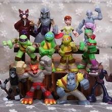 12 Шт./компл. TMNT фигурку игрушки 4-7 см Черепашки-Ниндзя черепахи 2 Бибоп Шредер ПВХ модель куклы для детей Рождество подарок(China (Mainland))
