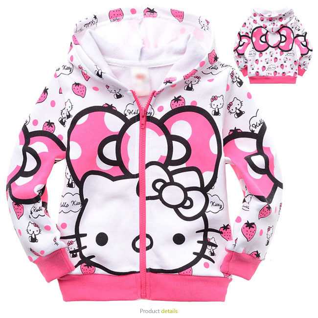 Fashion Hello kitty Hoodies Sweatshirts cartoon clothes,girls sweater 100% cotton kids coat terry cat Jackets for girls with cap(China (Mainland))