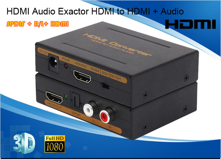 1080P HDMI Audio Exactor HDMI to HDMI SPDIF R/L converter 2.0CH 5.1CH audio format for DVD STB PS3 HDTV(China (Mainland))