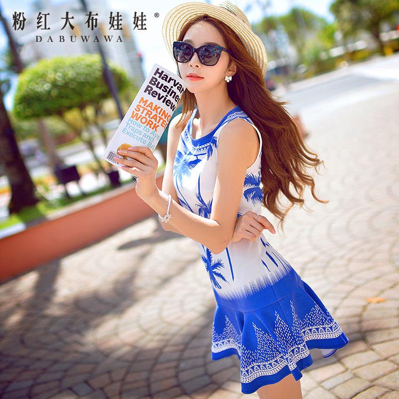 Summer dress pink doll 2015 new summer dress dress slim sleeveless dress