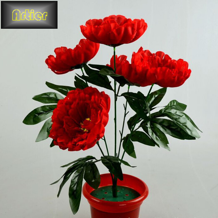 Factory outlets simulation peony bouquet 5 5 touch fabric layer 13 cm peony bouquet(China (Mainland))