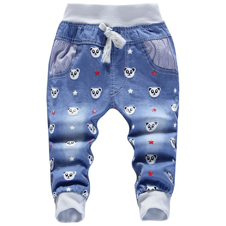 2016 Summer Cartoon Duck Minions Kids Pants Baby Girls calf-length Jeans children clothes Trousers for boys casual denim pants(China (Mainland))